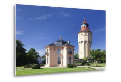 Water Tower and Pagodenburg Pavillon, Rastatt, Black Forest, Baden Wurttemberg, Germany, Europe-Markus Lange-Metal Print