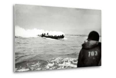 U.S. Landing Craft Approaching Omaha Beach, Normandy, France, 6th June 1944--Metal Print