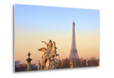 Eiffel Tower from Place De La Concorde with Statue in Foreground, Paris, France, Europe-Neil-Metal Print