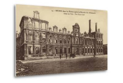Ruins of the Town Hall, Reims, France, World War I--Metal Print