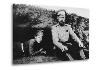 Tsar Nicholas II with His Son Alexei at the Front, 1916--Metal Print