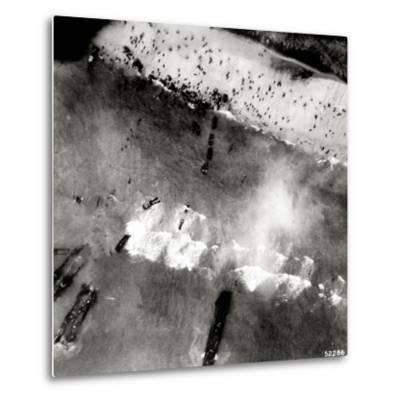 Aerial View of the First Landing with Landing Craft and Allied Soldiers--Metal Print