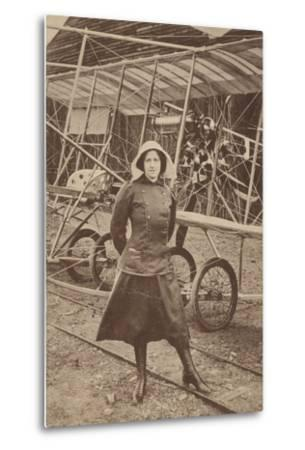 Lily Irvine Martin, the First Woman to Fly an Aeroplane, at Hendon Aerodrome, London--Metal Print