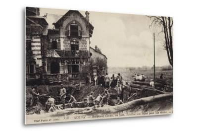 House with a River Flowing Beneath It, Noyon, France, World War I--Metal Print