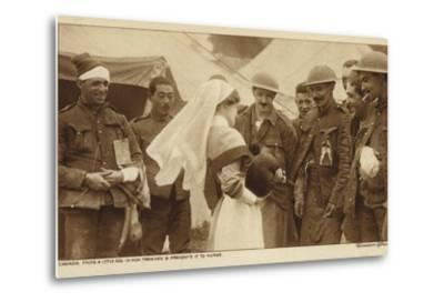 Canadian Troops Presenting a Nurse with a Dog They Found in a German Trench, World War I--Metal Print