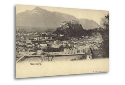 Postcard Depicting a General View of the City of Salzburg--Metal Print