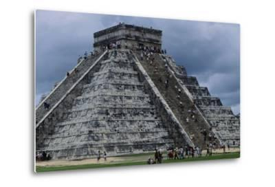 The Pyramid in Kukulkan known as the Castle in Chichen Itza--Metal Print