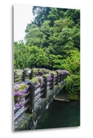 Stone Bridge with Flowers in Seogwipo-Michael-Metal Print