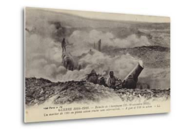 French 220 Mm Mortar in Action, Second Battle of Champagne, World War I, September 1915--Metal Print