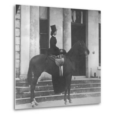 Augusta Crofton Riding Sidesaddle on Her Horse Champion, Ready for the Hunt, 1860--Metal Print