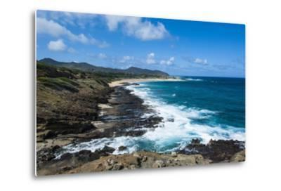 Lookout over Sandy Beach, Oahu, Hawaii, United States of America, Pacific-Michael-Metal Print