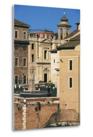 View of Piazza Di St Bartholomew on Island, Tiber Island, Rome--Metal Print