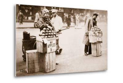 Jobless New Yorkers Selling Apples on the Pavement, 1930--Metal Print