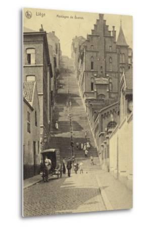 Postcard Depicting Stairway of the Montagne De Bueren--Metal Print