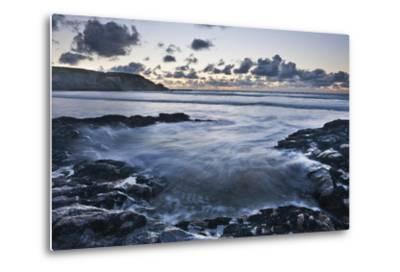 Rocky Coast at Treyarnon Bay at Sunset, Cornwall, England, United Kingdom, Europe-Matthew-Metal Print