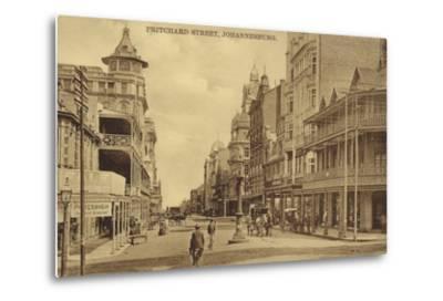 Postcard Depicting Pritchard Street in Johannesburg--Metal Print