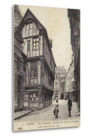 Postcard Depicting a 15th Century House on the Passage De La Cour Des Comptes--Metal Print