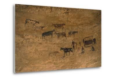 Scene of Daily Life with Livestock, Rock Art, Tassili N'Ajjer--Metal Print