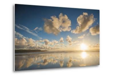 Cloud Reflections at Constantine Bay at Sunset, Cornwall, England, United Kingdom, Europe-Matthew-Metal Print