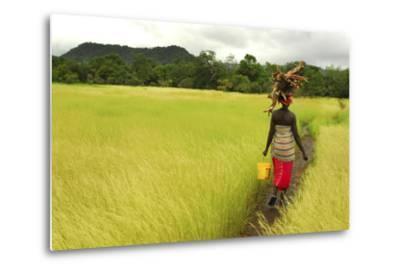 Bassari Woman Carrying Firewood on Her Head. Bassari Country, East Senegal-Enrique Lopez-Tapia-Metal Print