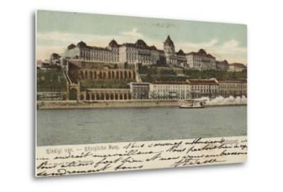 Postcard Depicting the Hungarian Parliament Building--Metal Print