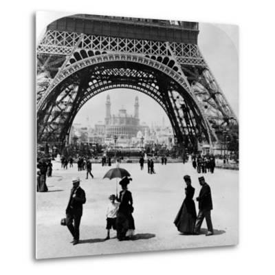 Looking Through the Base of the Eiffel Tower to the Trocadero and Colonial Station--Metal Print