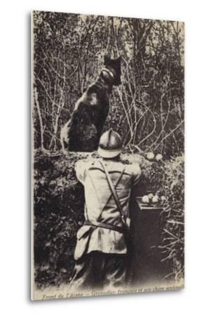 French Grenadier and His Sentry Dog, Aisne Front, France, World War I--Metal Print