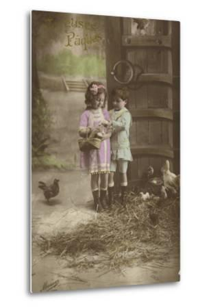 French Easter Card, Showing Children Finding Eggs--Metal Print