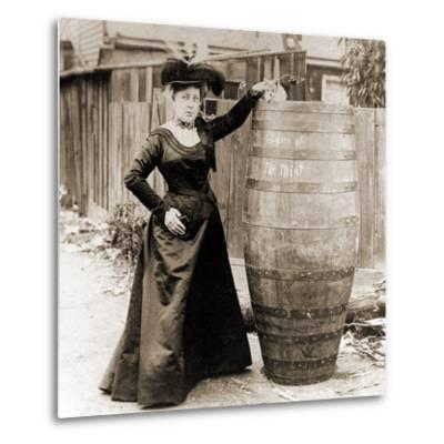 Annie Edson Taylor and the Cat Which Was Sent over the Horseshoe Falls in Her Barrel--Metal Print