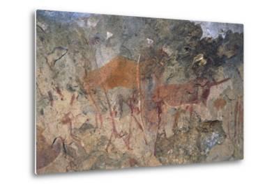 Figures of Ungulates, Bushmen or San Cave Paintings, Maloti-Drakensberg Park--Metal Print