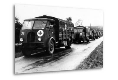 French Red Cross Trucks Carrying Aid for Prisoners of War, C. 1939-45--Metal Print