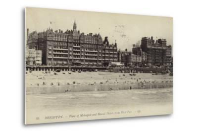 Brighton, View of Metropole and Grand Hotels from West Pier--Metal Print