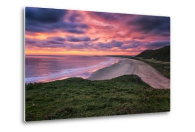 Colorful Sunset over the Beach in Rhossili on the Gower Peninsula, Wales, United Kingdom-Frances Gallogly-Metal Print