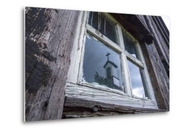 Iceland, Southern Land, Church Reflected in a House Window-Gavriel Jecan-Metal Print