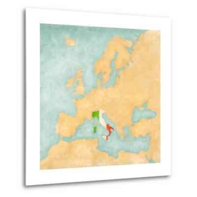 Map of Europe - Italy (Vintage Series)-Tindo-Metal Print