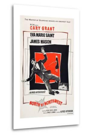 North by Northwest, Cary Grant, Eva Marie Saint on poster art, 1959--Metal Print