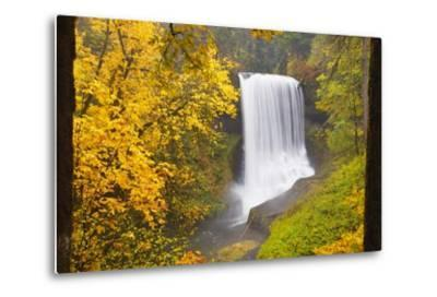 Fall Colors Add Beauty to North Middle Falls, Silver Falls State Park, Oregon, Pacific Northwest-Craig Tuttle-Metal Print