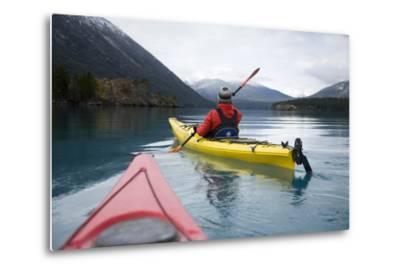 Young Woman Kayaking on Chilko Lake in British Columbia, Canada-Justin Bailie-Metal Print