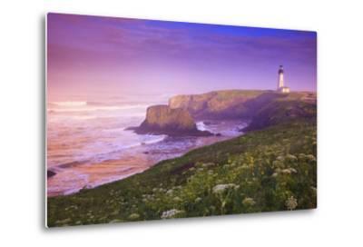 Sunrise Thru Fog, Yaquina Head Lighthouse, Oregon Coast. Pacific Northwest, United States-Craig Tuttle-Metal Print