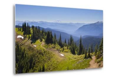 USA, Washington. Backpackers on Cowlitz Divide of Wonderland Trail-Gary Luhm-Metal Print