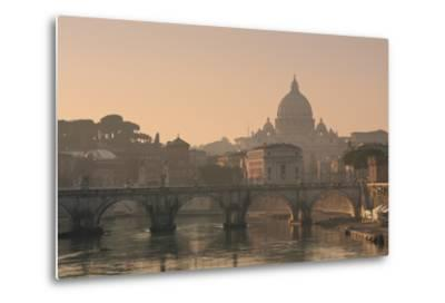St Peter's Basilica and Ponte Sant Angelo, Rome, Italy--Metal Print