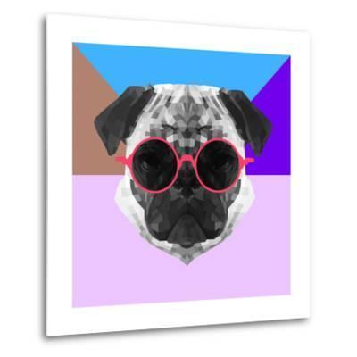 Party Pug in Pink Glasses-Lisa Kroll-Metal Print