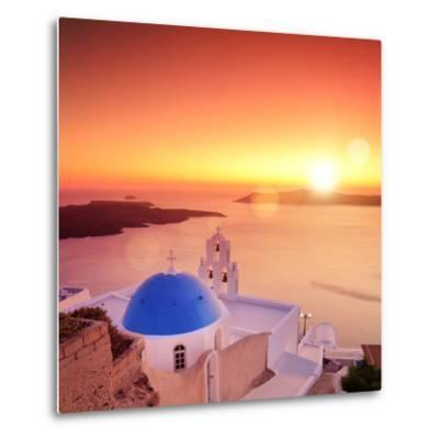 View of a Blue Dome of the Church St. Spirou in Firostefani on the Island of Santorini Greece, at S-buso23-Metal Print