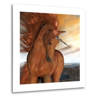 Burnt Sky Unicorn-Corey Ford-Metal Print