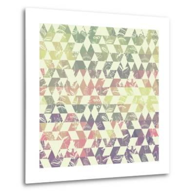 Pattern Geometric with Triangle and Plant Elements-Little_cuckoo-Metal Print
