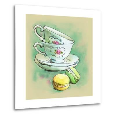 Painted Watercolor French Dessert Macaroons and Tea Cups-lozas-Metal Print