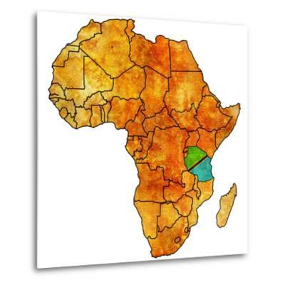 Tanzania on Actual Map of Africa-michal812-Metal Print
