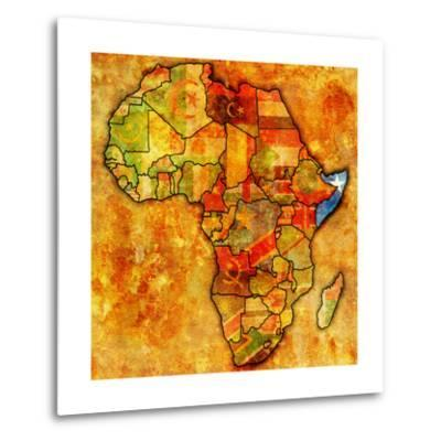Somalia on Actual Map of Africa-michal812-Metal Print