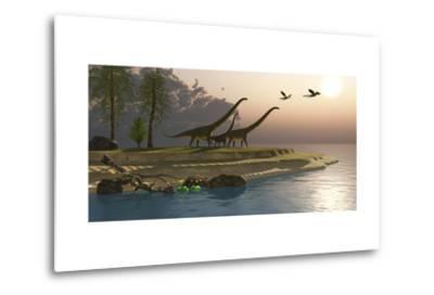 Mamenchisaurus Dinosaurs Walk to a Lake for a Morning Drink--Metal Print