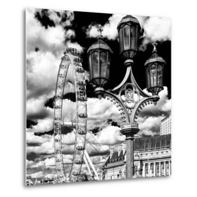 Royal Lamppost UK and London Eye - Millennium Wheel and River Thames - City of London - UK-Philippe Hugonnard-Metal Print